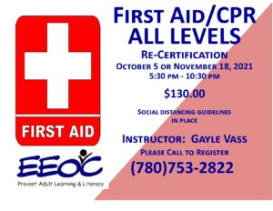 First Aid Recertification @ EEOC Provost Adult Learning & Literacy