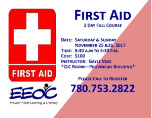 First Aid Full Two Day Course @ EEOC Provost Adult Learning & Literacy  | Provost | Alberta | Canada