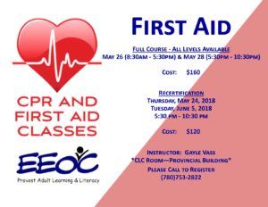 First Aid Recertification @ Provincial Building | Provost | Alberta | Canada