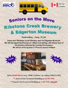 Seniors on the Move - Ribstone Creek Brewery and Edgerton Museum @ EEOC Provost Adult Learning & Literacy