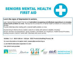 Mental Health First Aid for Seniors @ Provincial Building